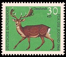 30 + 15 Pf Briefmarke: Für die Jugend 1966, Hochwild