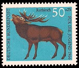 50 + 25 Pf Briefmarke: Für die Jugend 1966, Hochwild