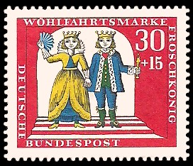 30 + 15 Pf Briefmarke: Wohlfahrtsmarke 1966, Froschkönig