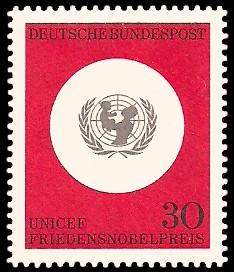 30 Pf Briefmarke: 20 Jahre Kinderhilfswerk UNICEF