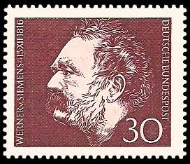 30 Pf Briefmarke: 150. Geburtstag Werner von Siemens