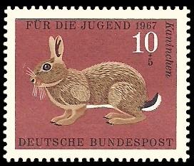 10 + 5 Pf Briefmarke: Für die Jugend 1967, Pelztiere