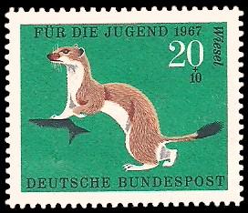 20 + 10 Pf Briefmarke: Für die Jugend 1967, Pelztiere