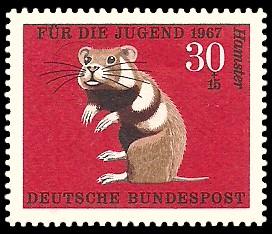 30 + 15 Pf Briefmarke: Für die Jugend 1967, Pelztiere