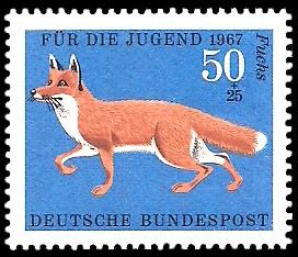50 + 25 Pf Briefmarke: Für die Jugend 1967, Pelztiere