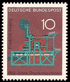 10 Pf Briefmarke: 150 Jahre Druckmaschinen