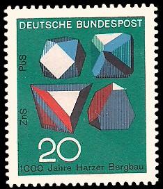 20 Pf Briefmarke: 1000 Jahre Harzer Bergbau