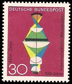 30 Pf Briefmarke: 100 Jahre wissenschaftlicher Mikroskopbau