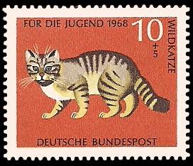 10 + 5 Pf Briefmarke: Für die Jugend 1968, bedrohte Tiere