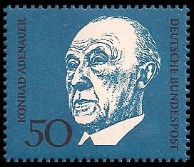 50 Pf Briefmarke: 1. Todestag Konrad Adenauer