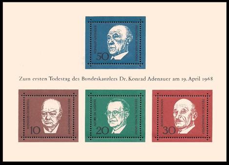 Briefmarke: Block: 1. Todestag Konrad Adenauer