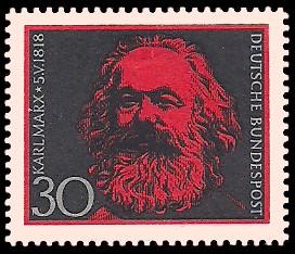 30 Pf Briefmarke: 150. Geburtstag Karl Marx