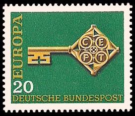 20 Pf Briefmarke: Europamarke 1968