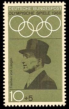 10 + 5 Pf Briefmarke: Olympische Spiele 1968