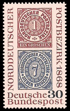 30 Pf Briefmarke: 100. Jahre Norddeutscher Postbezirk
