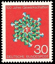 30 Pf Briefmarke: 100 Jahre Gewerkschaften