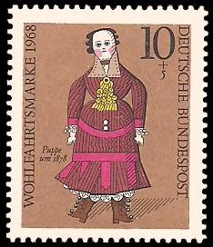 10 + 5 Pf Briefmarke: Wohlfahrtsmarke 1968, Puppen