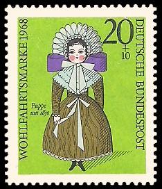 20 + 10 Pf Briefmarke: Wohlfahrtsmarke 1968, Puppen