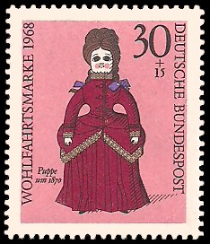 30 + 15 Pf Briefmarke: Wohlfahrtsmarke 1968, Puppen