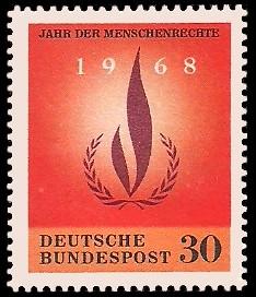 30 Pf Briefmarke: Jahr der Menschenrechte 1968