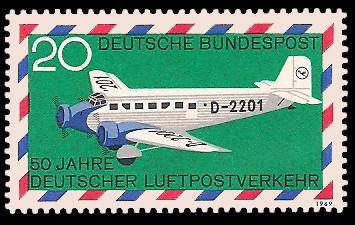 20 Pf Briefmarke: 50 Jahre deutscher Luftpostverkehr