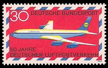 30 Pf Briefmarke: 50 Jahre deutscher Luftpostverkehr