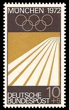 10 + 5 Pf Briefmarke: Olympische Spiele in München 1972