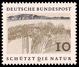 10 Pf Briefmarke: Schützt die Natur