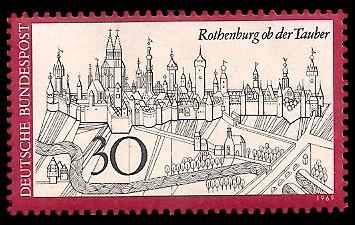 30 Pf Briefmarke: Rothenburg ob der Tauber