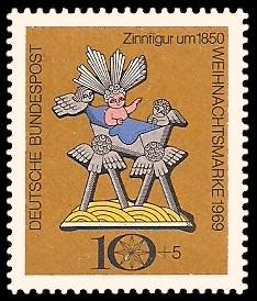 10 + 5 Pf Briefmarke: Weihnachtsmarke 1969, Zinnfigur