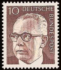 10 Pf Briefmarke: Bundespräsident Gustav Heinemann