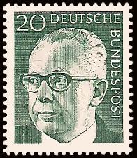 20 Pf Briefmarke: Bundespräsident Gustav Heinemann
