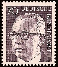 70 Pf Briefmarke: Bundespräsident Gustav Heinemann
