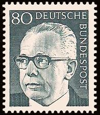 80 Pf Briefmarke: Bundespräsident Gustav Heinemann