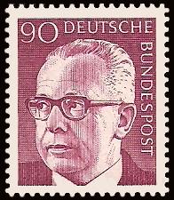 90 Pf Briefmarke: Bundespräsident Gustav Heinemann