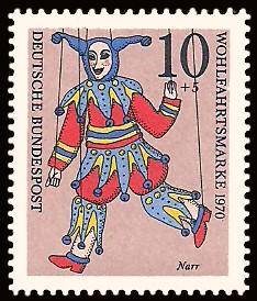 10 + 5 Pf Briefmarke: Wohlfahrtsmarke 1970, Marionetten