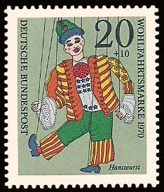 20 + 10 Pf Briefmarke: Wohlfahrtsmarke 1970, Marionetten