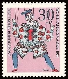 30 + 15 Pf Briefmarke: Wohlfahrtsmarke 1970, Marionetten