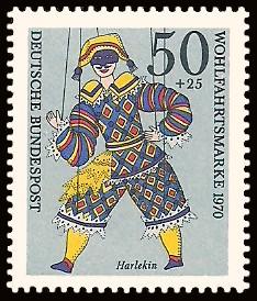 50 + 25 Pf Briefmarke: Wohlfahrtsmarke 1970, Marionetten