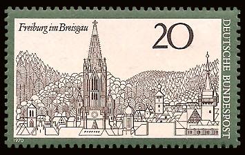 20 Pf Briefmarke: Freiburg im Breisgau