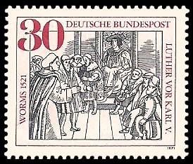 30 Pf Briefmarke: 450. Jahrestag des Wormser Reichstags