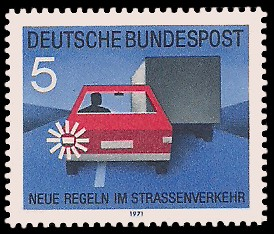 5 Pf Briefmarke: Neue Regeln im Strassenverkehr