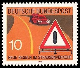 10 Pf Briefmarke: Neue Regeln im Strassenverkehr