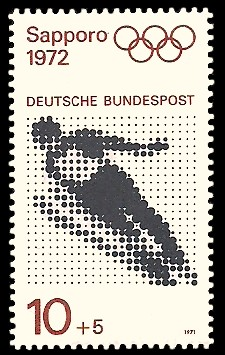 10 + 5 Pf Briefmarke: Olympische Spiele 1972 in München und Sapporo