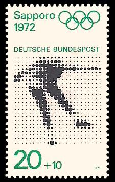 20 + 10 Pf Briefmarke: Olympische Spiele 1972 in München und Sapporo