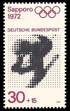 30 + 15 Pf Briefmarke: Olympische Spiele 1972 in München und Sapporo