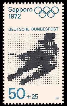 50 + 25 Pf Briefmarke: Olympische Spiele 1972 in München und Sapporo