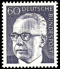 60 Pf Briefmarke: Bundespräsident Gustav Heinemann
