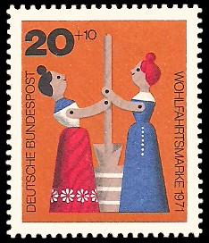20 + 10 Pf Briefmarke: Wohlfahrtsmarke 1971, Holzspielzeug