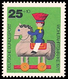 25 + 10 Pf Briefmarke: Wohlfahrtsmarke 1971, Holzspielzeug
